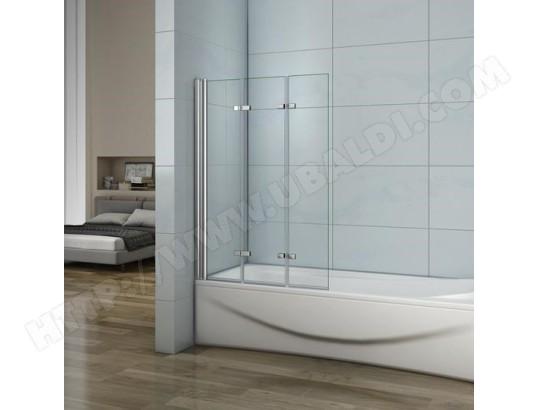 aica sanitaire aica pare baignoire en verre anticalcaire l hauteur de 1400mm 3 volets ecran de douche en verre anticalcaire et securite
