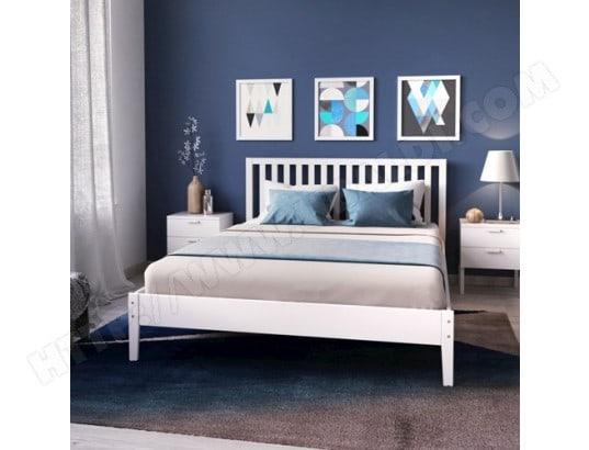 le quai des affaires lit parker 140x190 avec tete de lit blanc 90749