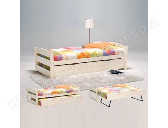le quai des affaires lit gigogne thomas 90x190 tiroir avec pieds pliants 2 sommiers blanchi 212213