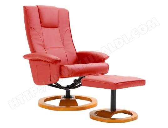 helloshop26 fauteuil chaise siege lounge design club sofa salon tv pivotant avec repose pied rouge similicuir 1102192 3 ma 18ca92 faut dtajm