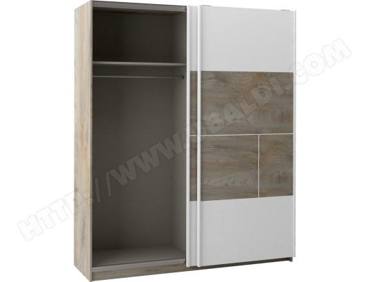 sciae armoire prado blanc bois armoire 2 portes coulissantes