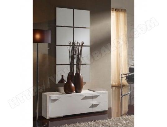 tousmesmeubles meuble d entree blanc chene clair miroir tamara l 120 x l 29 x h 40 ma 46ca43 meub lzx5w