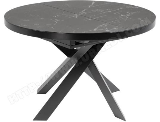 lf table de salle a manger vashti ronde diametre 120 ceramique noir