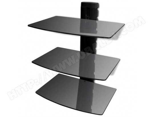 vidaxl vidaxl etagere murale a dvd a 3 niveaux verre noir 50368