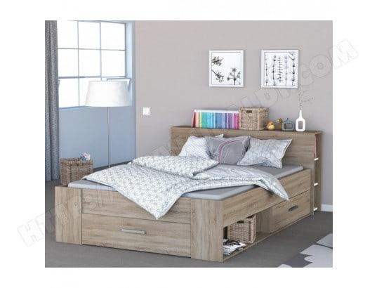terre de nuit lit en bois avec tiroir imitation chene brosse 140x190 terre de nuit ma 69ca186lite xtqa2