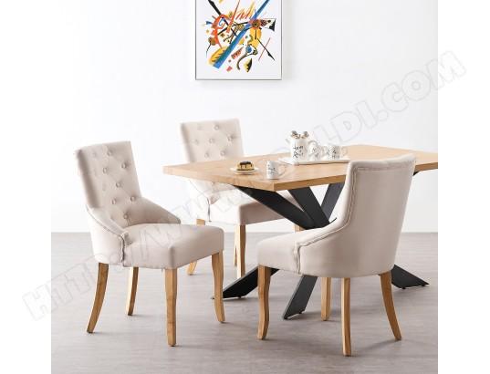 life interiors ensemble table a manger coloris chene 4 chaises capitonnees en tissu beige style design ma 16ca492ense ewbpv