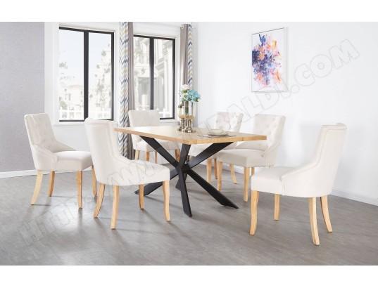 life interiors ensemble table a manger coloris chene 6 chaises capitonnees en tissu beige style design ma 16ca492ense 1g6ss