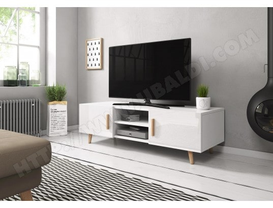 vivaldi sweden 2 meuble tv style scandinave blanc mat avec blanc brillant ma 54ca43 swed 5k83j