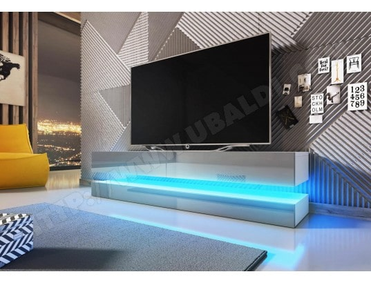 vivaldi meuble tv design fly blanc mat avec gris brillant eclairage a la led bleue ma 54ca43 meub 6u8k6