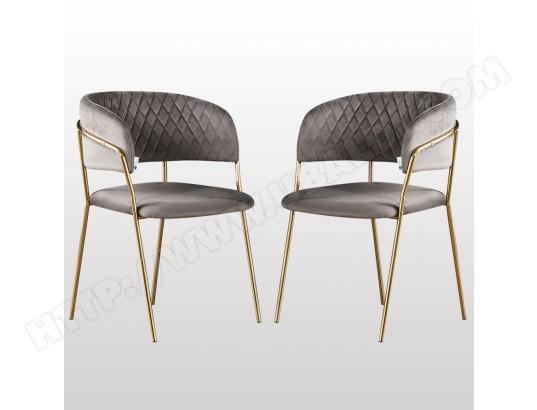 life interiors atarah lot de 2 chaises en velours gris structure doree style moderne avec accoudoirs salle a manger cuisine ou salon