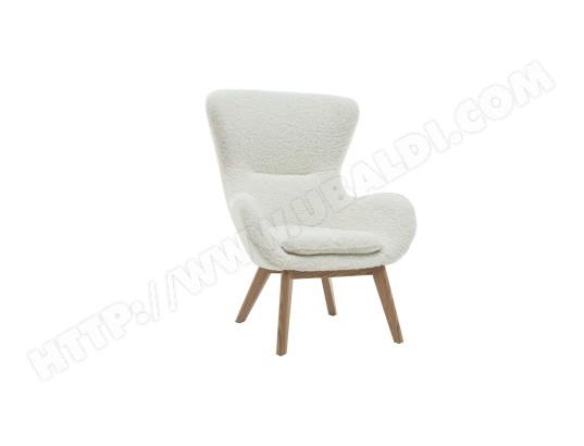 miliboo fauteuil scandinave tissu blanc effet laine bouclee et bois eskua ma 78ca92 faut zgoaa