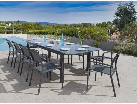 jardiline table de jardin milos extensible en aluminium pour 10 12 personnes ma 10ca281tabl evp3a