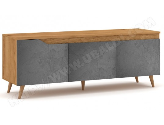 pegane meuble tv en bois coloris chene artisanal dore beton graphite ma 82ca487meub x6fff