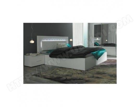 price factory ensemble pour chambre a coucher panarea lit adulte design avec led deux chevets sommier couchage 180x200 cm