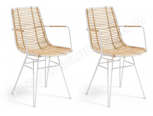 lf chaise ashanti lot de 2 chaises rotin pieds blancs