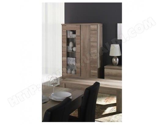 price factory vitrine vaisselier romi 2 portes coulissantes coloris dab canyon meuble design ideal pour votre salle a manger ma 76ca43 vitr ej2am
