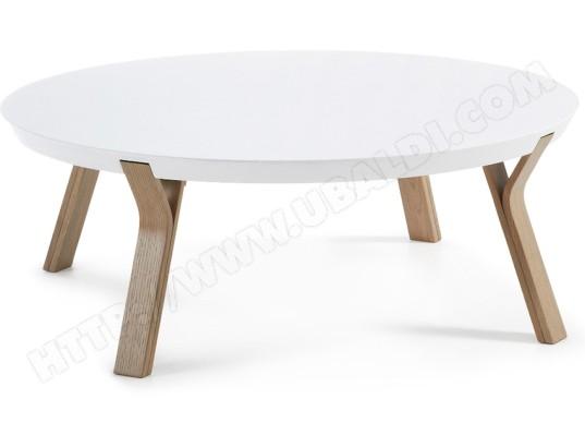 lf table basse solid diametre 90 cm blanc pied frene
