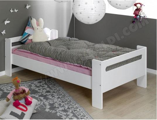 lit enfant sofamo london blanc lit bas 90x190