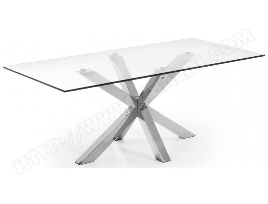lf table de salle a manger arya 200x100 plateau verre pied inox