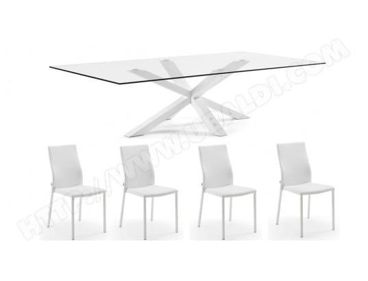 lf ensemble table et chaises arya blanche et verre et 4 chaises aura blanches