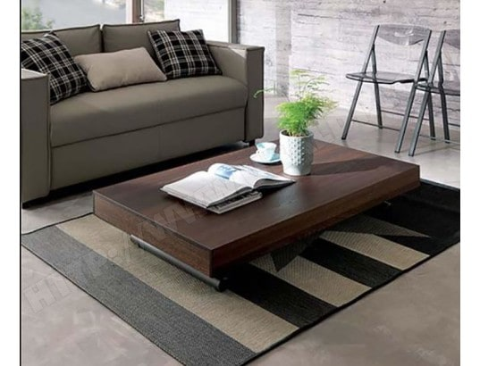 ozzio table basse newood table transformable chene graphite