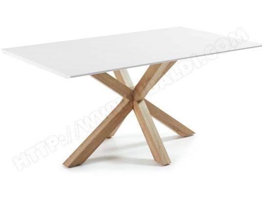 lf table de salle a manger arya 180 x 100 plateau blanc pied bois