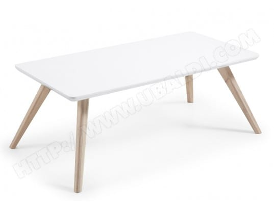 lf table basse quatre blanche et bois 120 x 60 cm