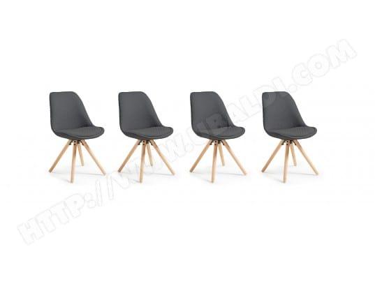 lf chaise lot de 4 chaises lars gris fonce