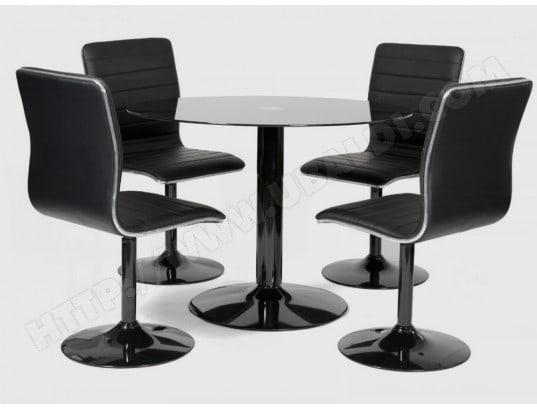 ub design ensemble table et chaises scott diametre 95 4 chaises noires pivotantes
