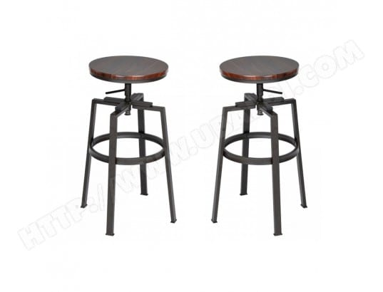 calicosy lot de 2 tabourets de bar style industriel avec hauteur reglable en bois et metal ma 45ca493lotd fk3sh