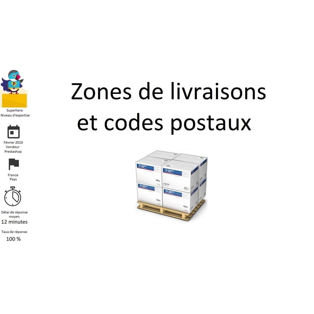module zones de livraisons et codes postaux