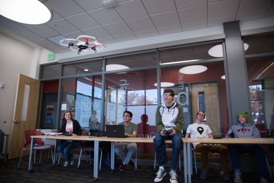 Students work with small quadcopters during their first semester at the University of Utah.