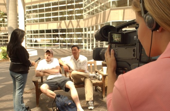 Texas Christian University students shoot a television interview. Photo courtesy of TCU.