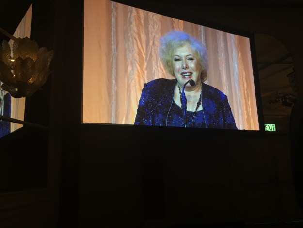 International Women's Media Foundation Lifetime Achievement award winner Linda Deutsch accepts her award at the IWMF awards ceremony at the Beverly Wilshire Hotel in Los Angeles on Oct. 27, 2015.