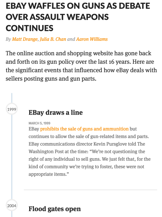 Screenshot from CIR's app Ebay Waffles on Guns as Debate Over Assult Weapons Continues