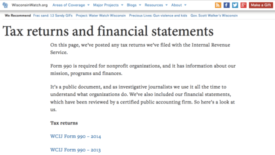 Wisconsin Watch lists funders, fundraising policies and X on its website.