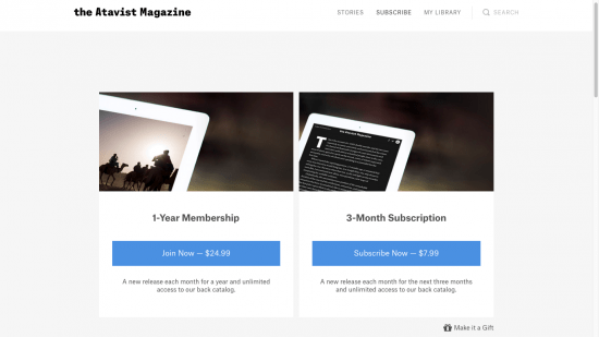 A screenshot of Atavist's membership options.