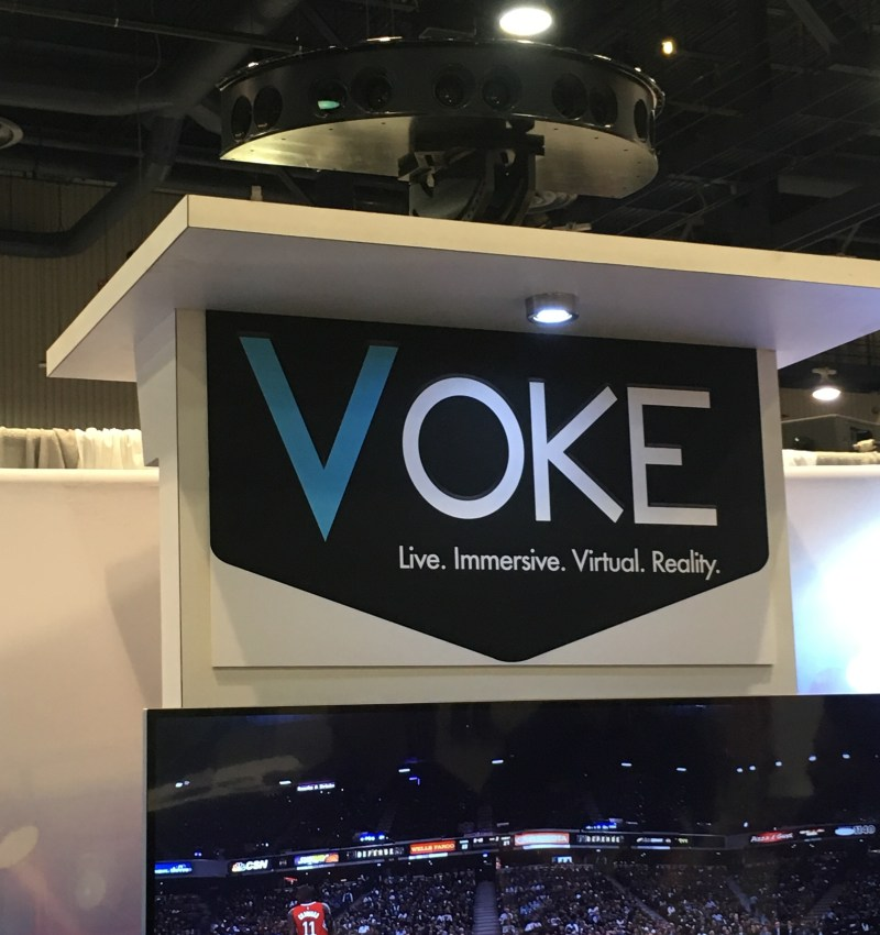 Voke Camera sits atop their booth. The company delivers live sporting and event 360 experiences. Photo by Jocelyn Apodaca