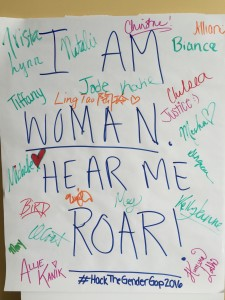 Student participants left their mark on the sign that appeared during the makeathon at WVU (Photo by Amy L. Kovac-Ashley)