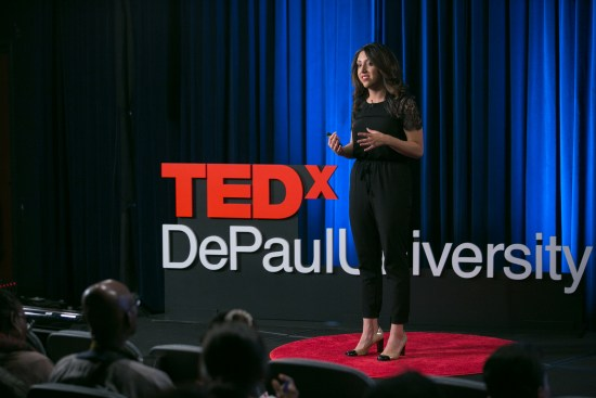 DePaul University undergraduate student Jacqueline Martinez speaks at the TEDx DePaul University event on April 29, 2016 in Chicago, IL. Martinez is a co-founder of NetWings, a nonprofit dedicated to creating international education opportunities for youth while instilling values of global literacy and cross-cultural understanding. Photo by DePaul University/Diane M. Smutny.