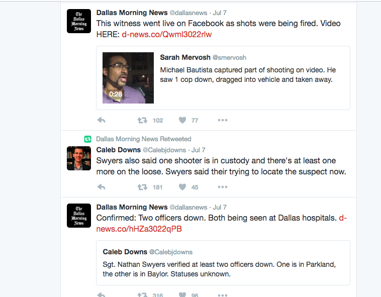 Dallas Morning News coverage of BLM protest and shootings