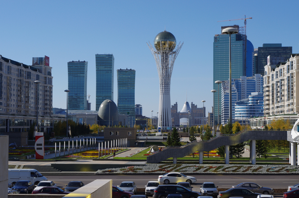 Astana, pictured here, is among at least four Kazakh cities that reportedly are unable to to access social media websites including Facebook, Instagram, YouTube and Google on the 25th anniversary of Kazakhstan's independence from the Soviet Union. Photo by Ken and Nyetta on Flickr and used with Creative Commons license.