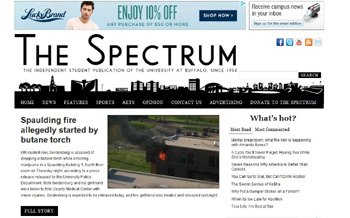 Screenshot of The Spectrum, the University of Buffalo's student newspaper.