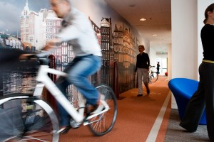 An indoor bike track at a Google office (photo courtesy of Google)