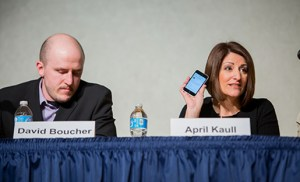April Kaull discusses the role social media played in media coverage of the WV chemical spill. (David Smith, P.I. Reed School of Journalism)