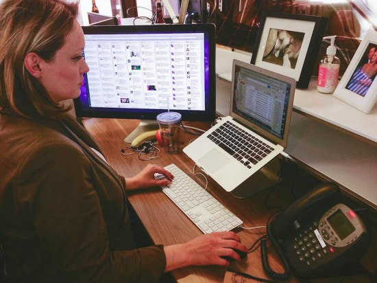 """At the AOL Chicago office, Shamberg is constantly checking her inbox. """"I'm a slave to email,"""" she said."""