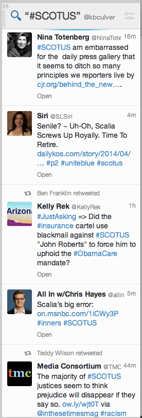 Screenshot of #SCOTUS on Twitter