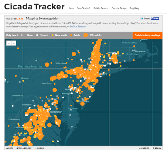 WNYC's Cicada Project used small sensors to project when the next year's cicadas would emerge by crowdsourcing ground temperature readings.