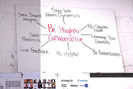 Whiteboards with inspirational messages adorn the walls of the Matter space in San Francisco.