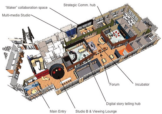 The layout of the new Media Innovation Center at West Virginia University